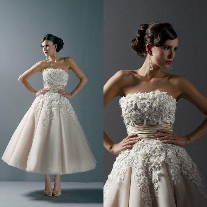 477885d5f17e kort vintage brudekjole i chiffon med dekorasjoner