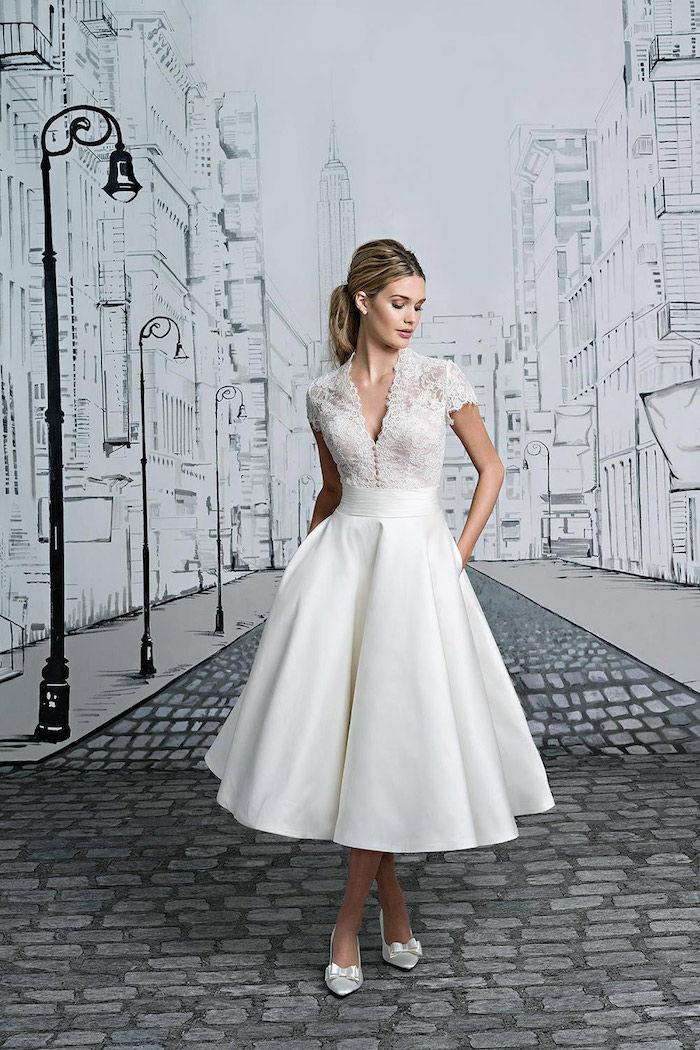 krátke vintage saténové a krajkové svadobné šaty 1763f21f5c4