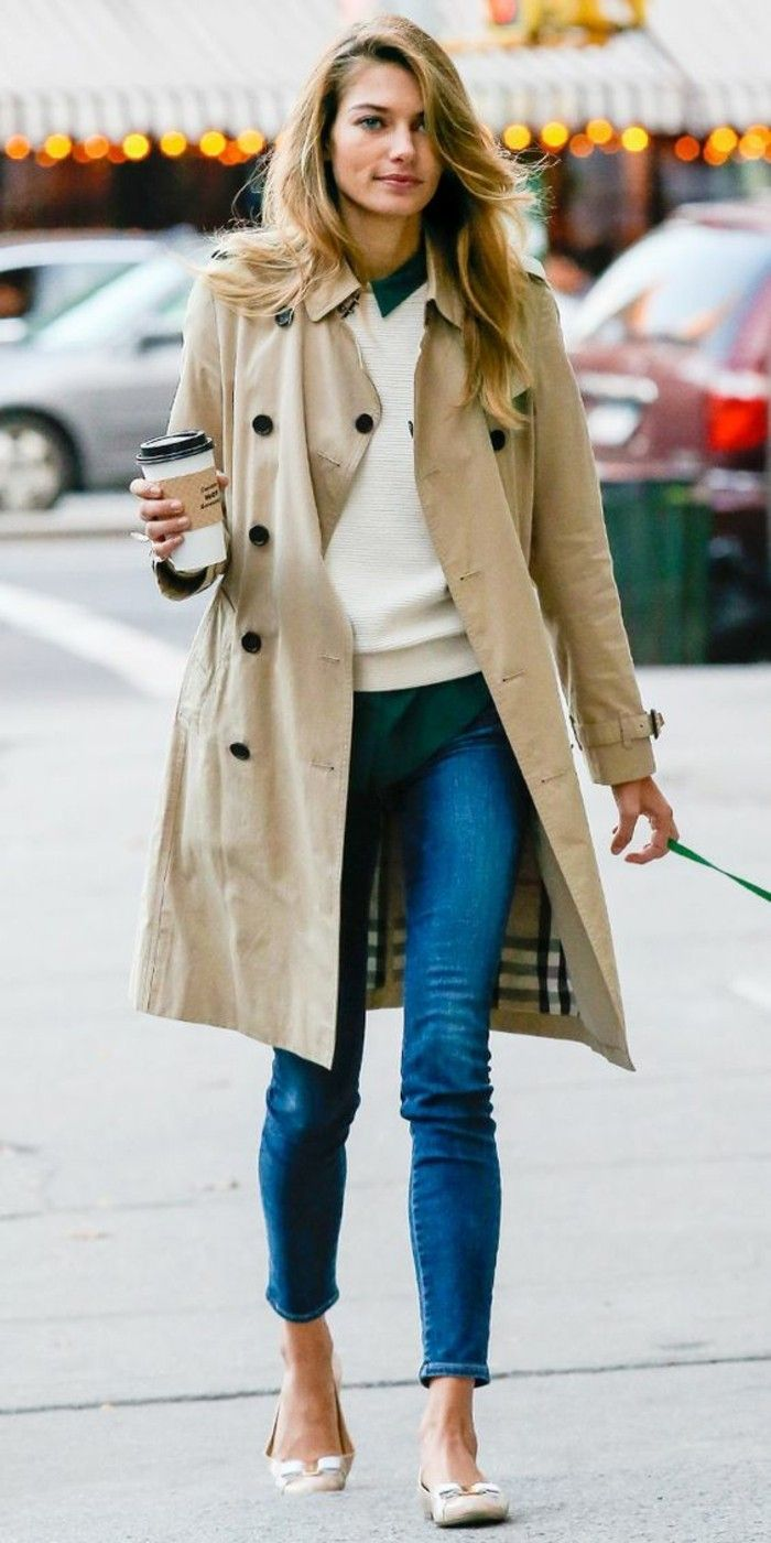 Burberry trenchcoat och jeans-by-the-dagen