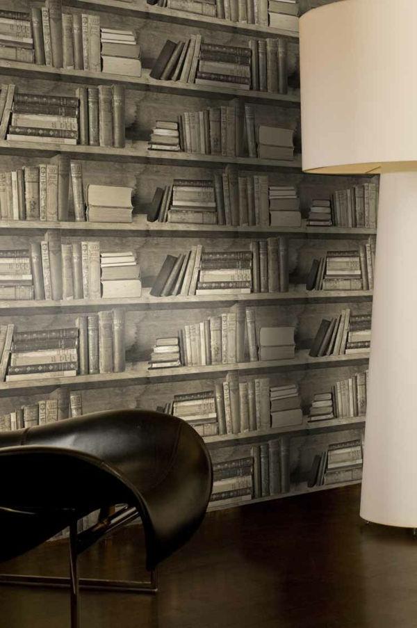muurschildering boeken muur met retro look verkleind