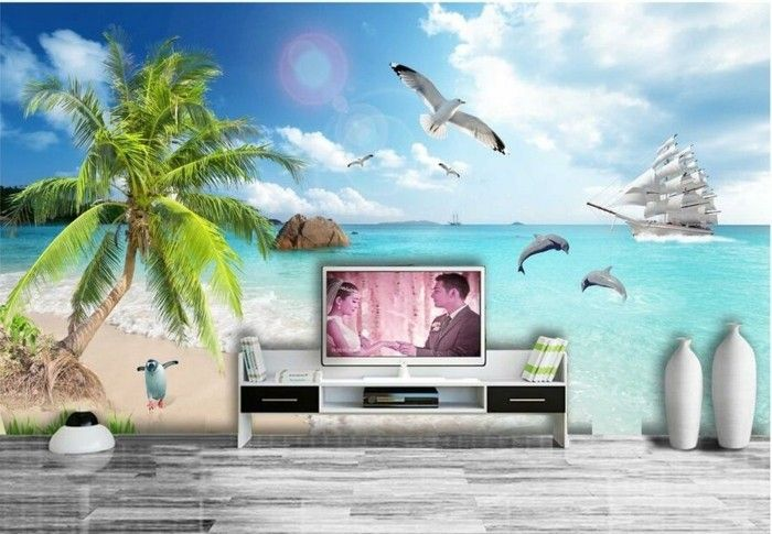 Murale-beach-behind-the-TV