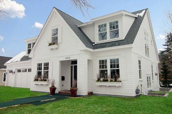Telhado Cinza E áreas Verdes Para Um Design Moderno De Casa Branca