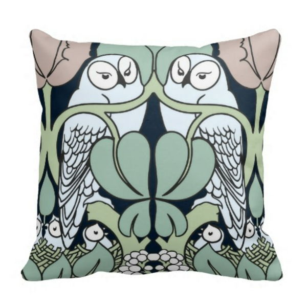 Art Nouveau - Ornaments-Templates-The-Owls-and-green-backgrounds