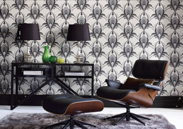 Art Nouveau - ornamenter-maler-the-wallpaper-and-a-black-sofa