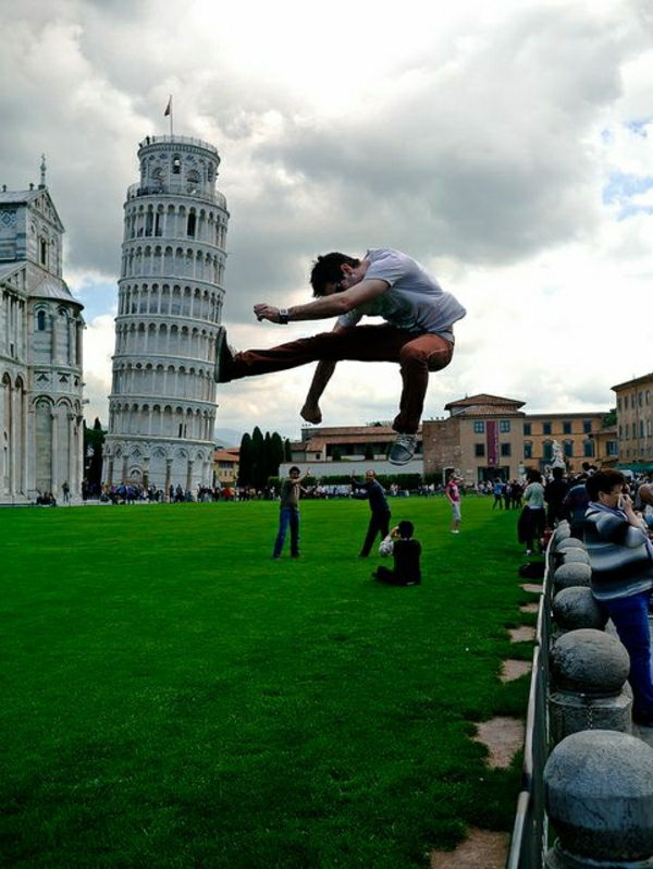 Leaning Tower Visitor Karate Boy