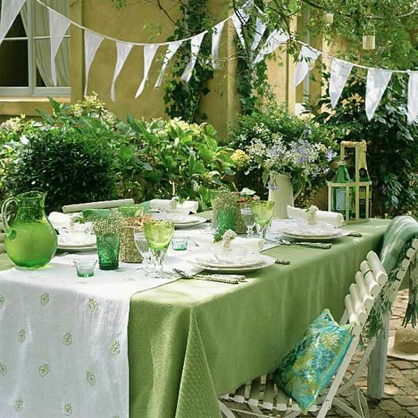 Summer Party Decoration-em-branco e cor verde Tabela