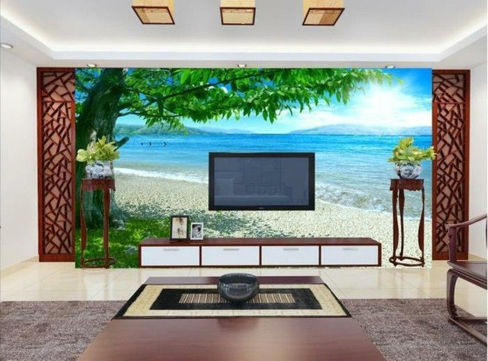 Beach-wallpaper-con-un-verde-albero