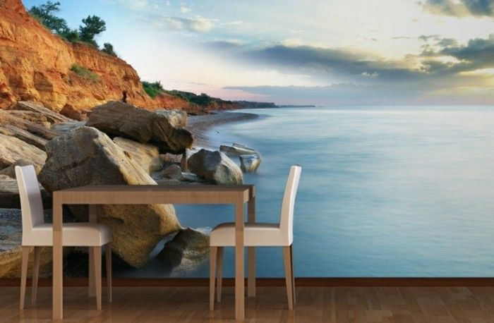 Wallpaper beach-due-sedie-e-table