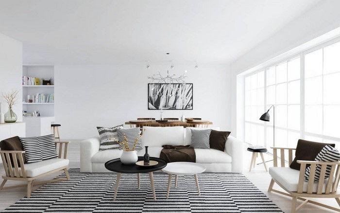 Sala De Estar Mobiliário Em Branco Uma Decoração Moderna