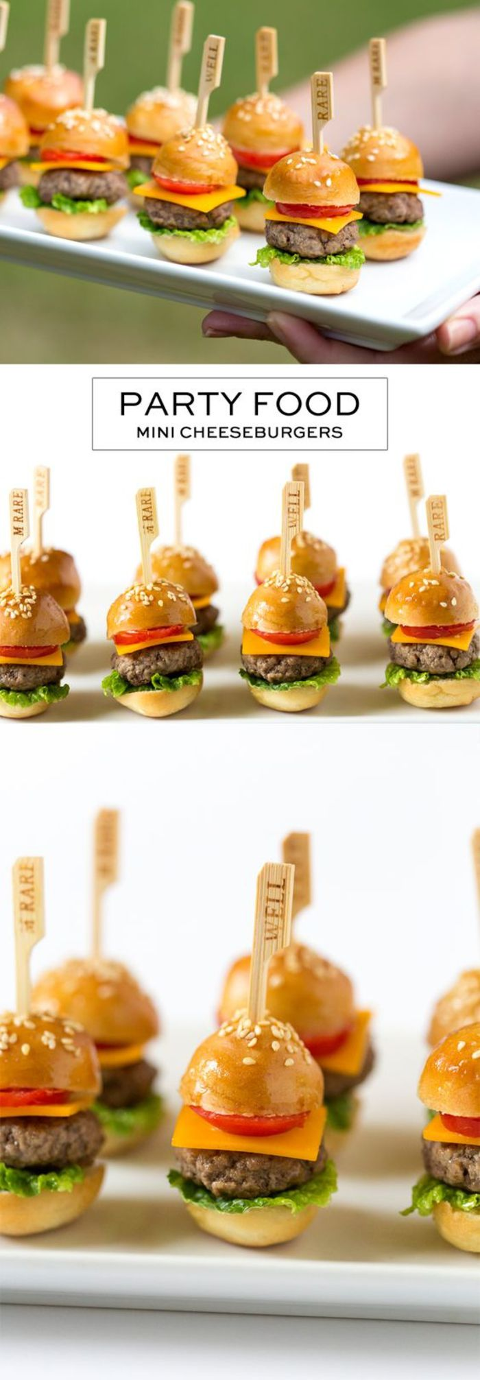 organizzare festa d'addio, mini cheeseburger, morsi di cocktail