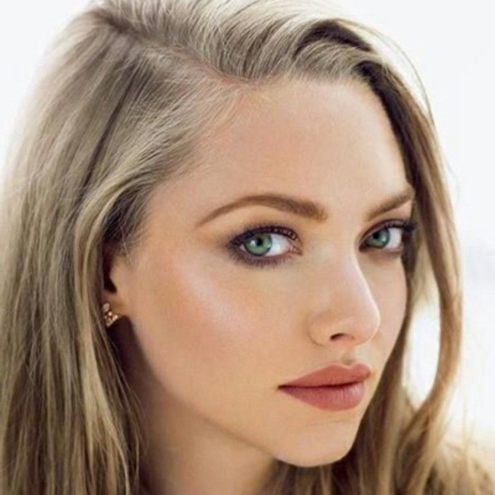 sposa make-up per sé-make-amanda-Seyfried-marrone-labbra-discreto eye-make-up-rouge-evidenziatore