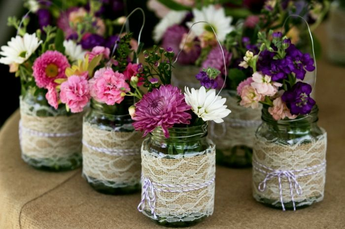 Rendas decoradas copos para vasos - Mason jar decoration
