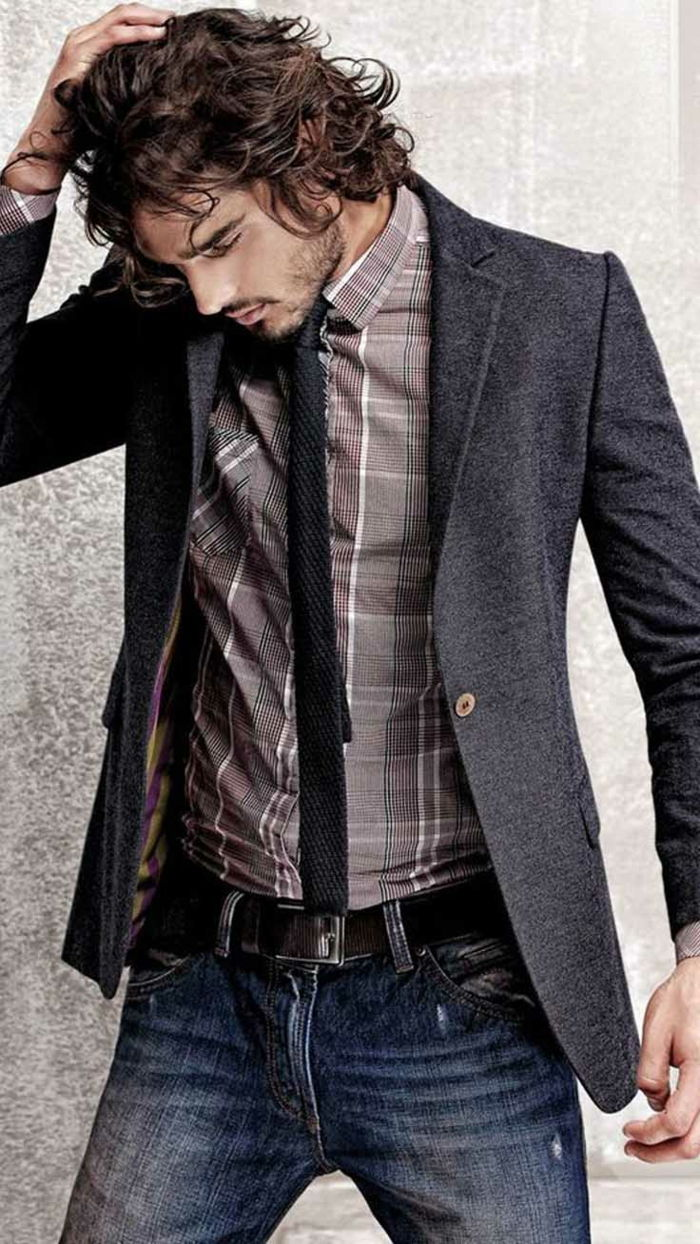 business casual mens trendy ideas 2017 jeans con camicia, blazer e cravatta uomo acconciatura selvaggia