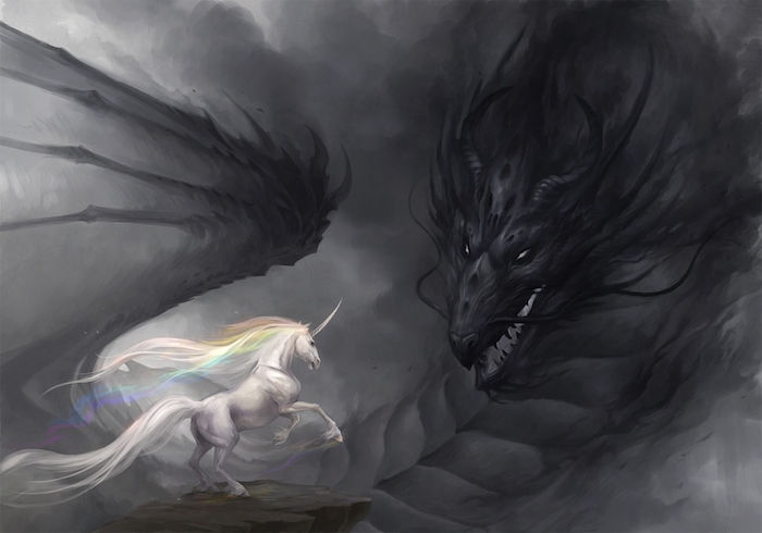 fantasy unicorn 이미지 - Black dragon with black wings and white unicorn with a rainbow 컬러 고밀도 갈기