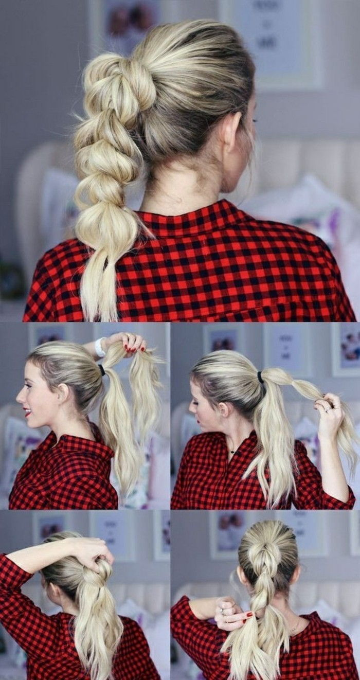 facili acconciature-bionda-schulterllange-capelli-da-te plait-fanno-plaid-shirt