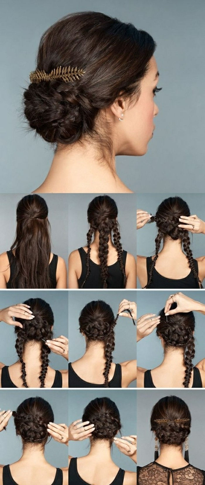 facile-squatting spina acconciature-scuro marrone-capelli-trecce-te-make-accessorio