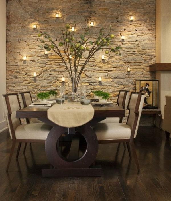 Projeto De Sala De Jantar Com Um Muro De Pedra Criando Uma Atmosfera  Romântica