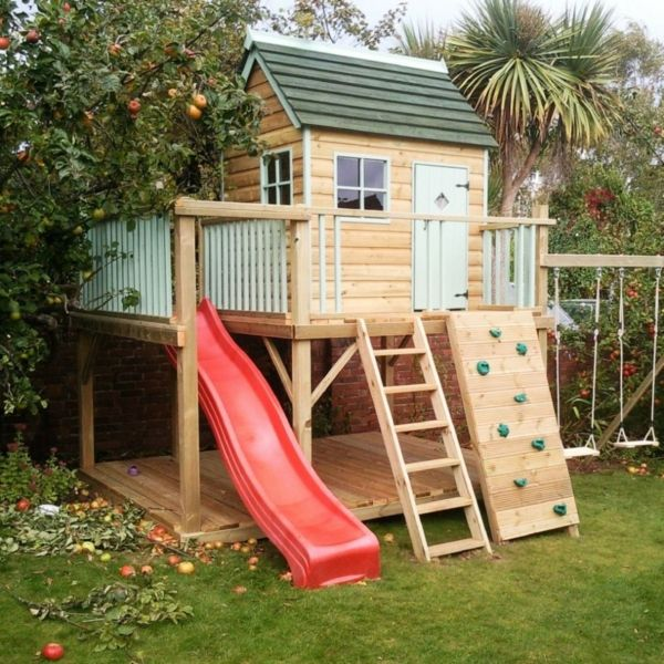 fantastisch spel huizen - met-slide-in-tuin-for-the-kinderen-super-grote-kinderen-house-with-klimmuur-to-fun