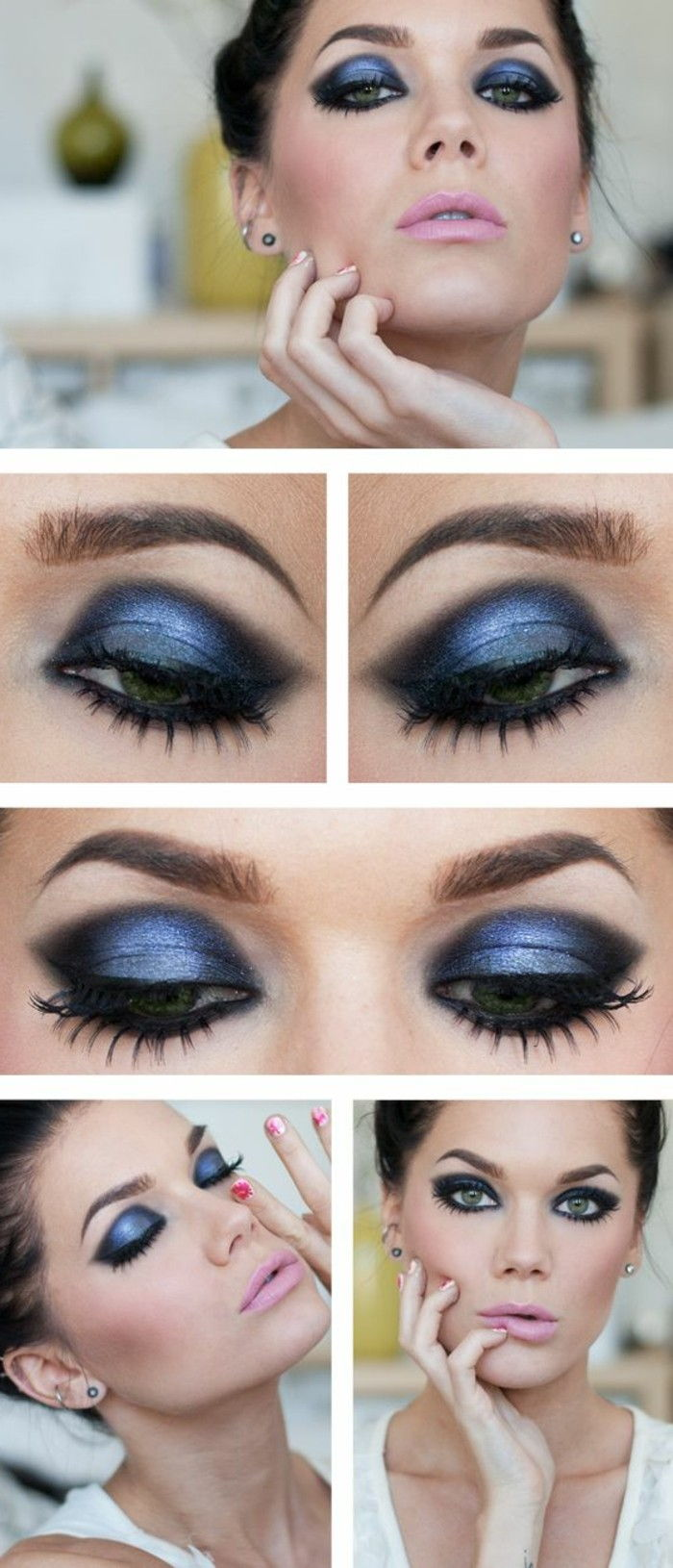 festlig-make-up och blå-ögonskugga smokey-eyes tips make-up-