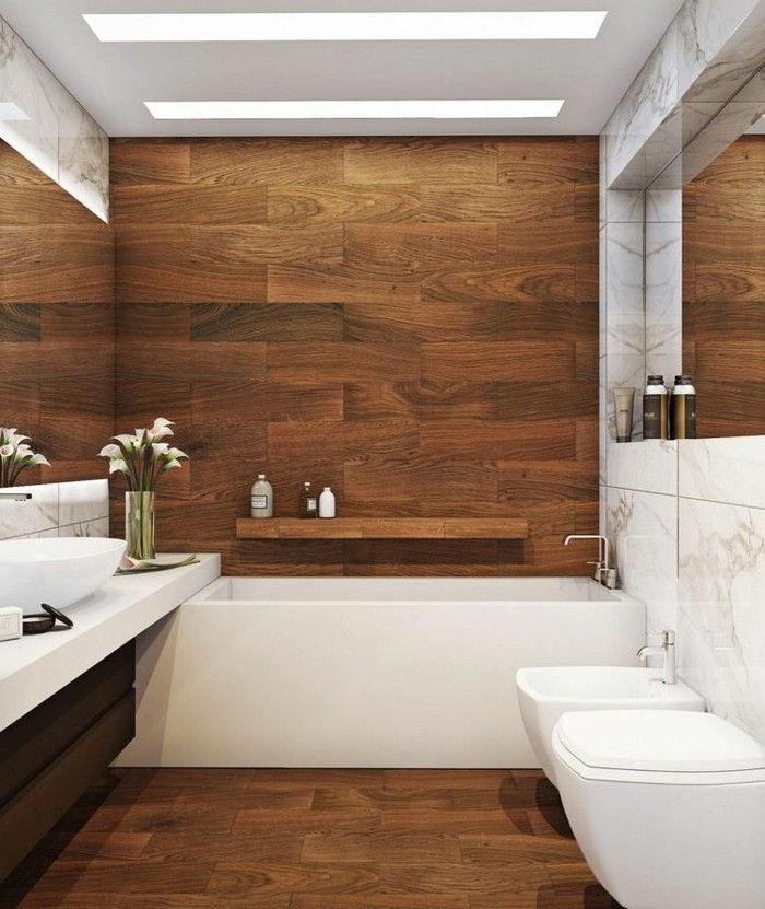 Telhas De Madeira Optic Banheiro Branco Banho Pequeno Design