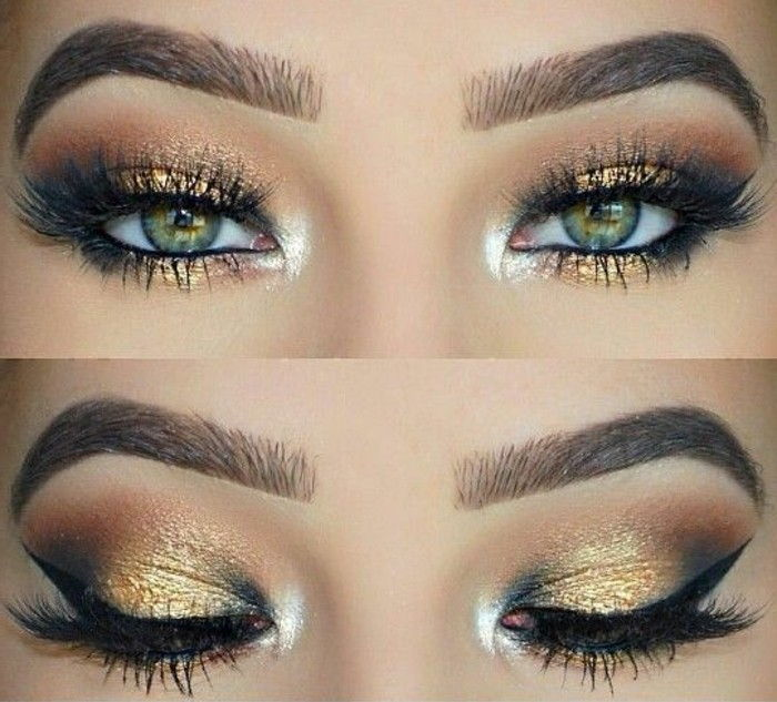 glamour makeup-cat eye-makeup-golden-vit-ögonbryn rökig-party-makeup