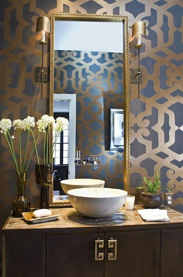 guld-blue-chic wallpaper-for-badrum
