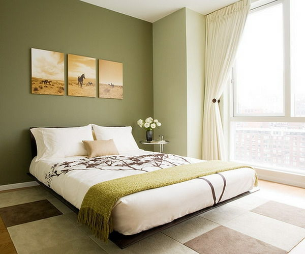 green-wall design-for-slaapkamer-drie-pictures-an-der-wall