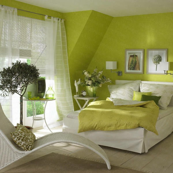 green-wall design-for-slaapkamer-gezellig