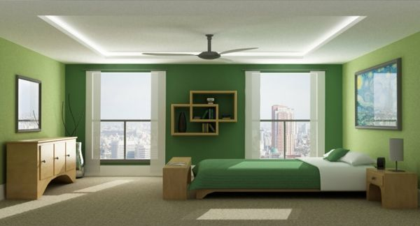 green-wall design-for-slaapkamer-big-and-modern