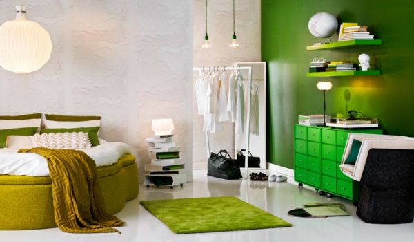 green-wall design-for-slaapkamer-interessante-decoration