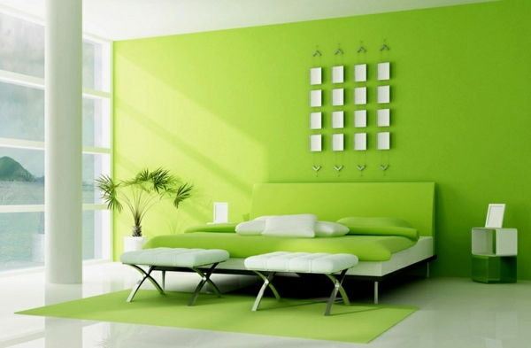 green-wall design-for-slaapkamer-luxe-apparatuur