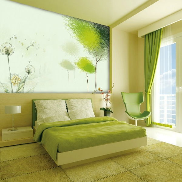 green-wall design-for-slaapkamer-with-a-big-bedden