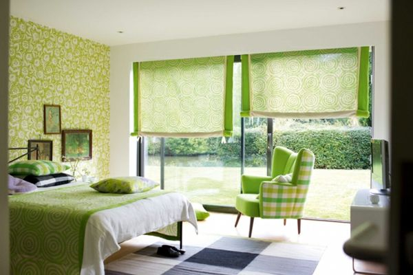 green-wall design-for-slaapkamer-met-blinds