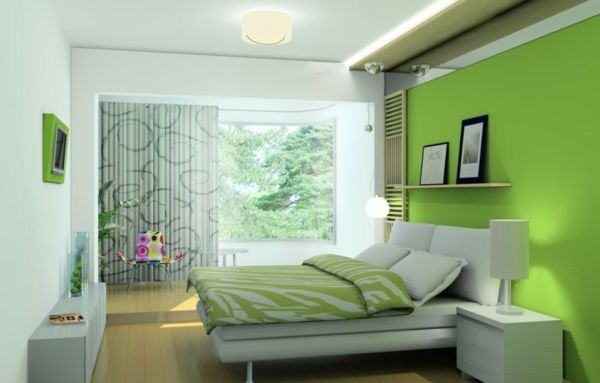 green-wall design-for-slaapkamers met meubels-beautiful--