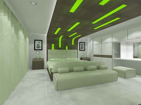 green-wall design-for-slaapkamer-modern-plafond