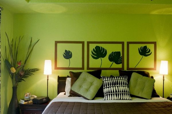 green-wall design-for-slaapkamer-chic-look
