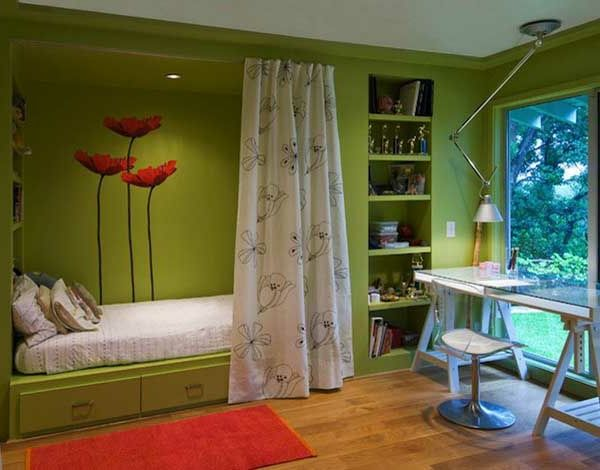 green-wall ontwerp-look for-slaapkamer-super-