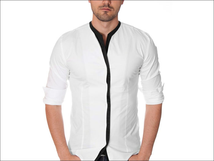 shirt-no-golier biela-design-super-look