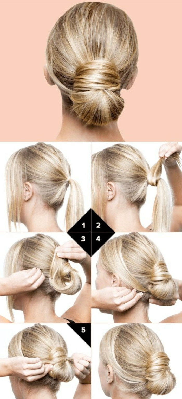 Make-to-Naśladujcie-blond-włosy gładkie pin up-manual-fryzura sam updo hairstyles-