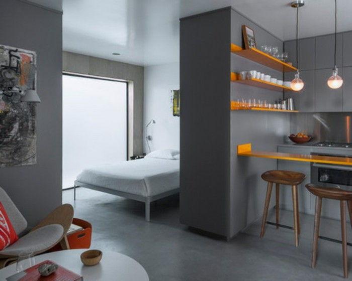 Pequena De Apartamentos Situado Cinza Faz De Laranja Cozinha Prateleiras