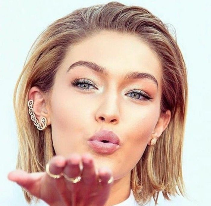 makeup-manual-kort blont-hår makeup-makeup-gigi-Hadid-kiss