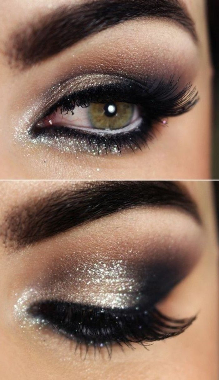 makeup-idéer-glansig-makeup-idéer-eve-party-look silver ögonskugga