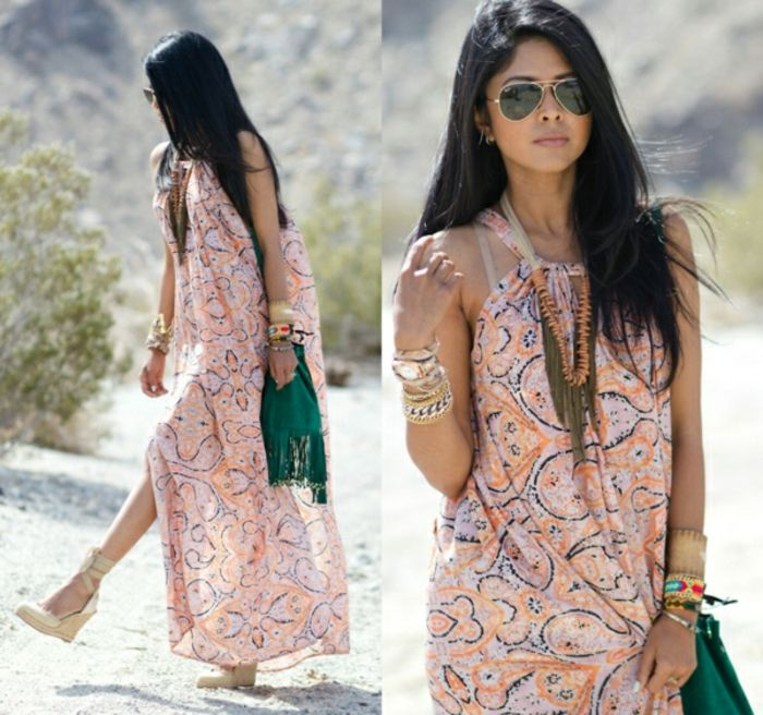 maxi-dress-boho-chic-hippie sieraden Green Bag