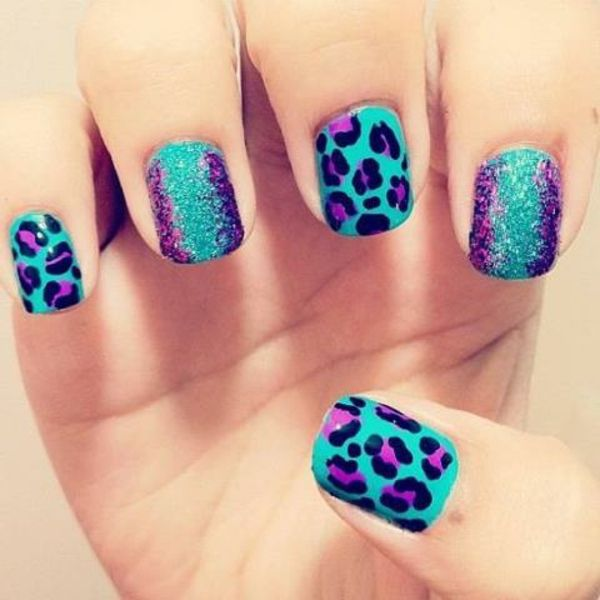 Nail design-for-pomlad-blue leopard