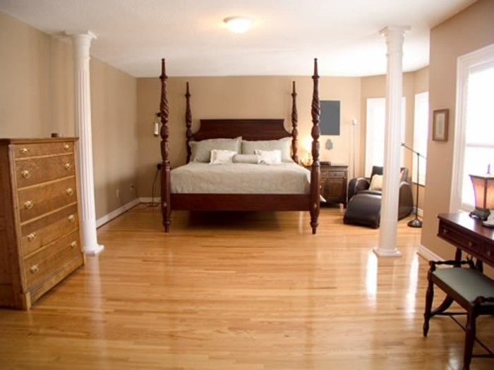 Podłogi Z Pvc Piękny Sypialnia Wyne łóżko