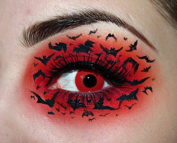 make-up-red-halloween- krásne oko