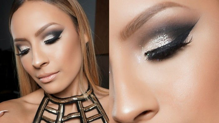 makeup-eve-fest outfit och-makeup-kombinera-silver-black-smokey-dress