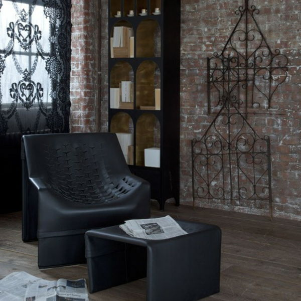 Black-chair-in-gothic-room