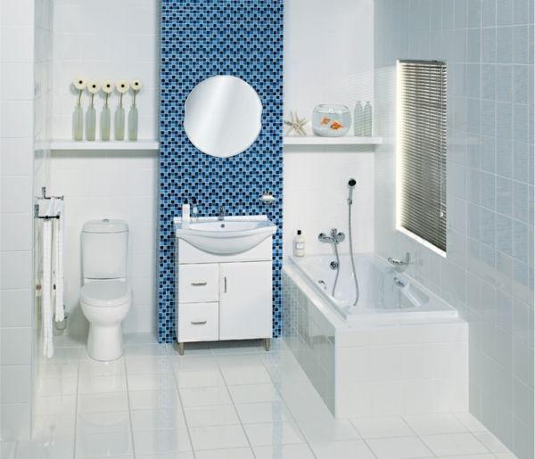 Belo Living Bathroom   Interessante Decoração De Banheiro Com Pequenos  Mosaicos Azuis