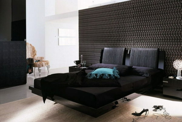 ultramoderno-nero-wall paint-by-camera da letto